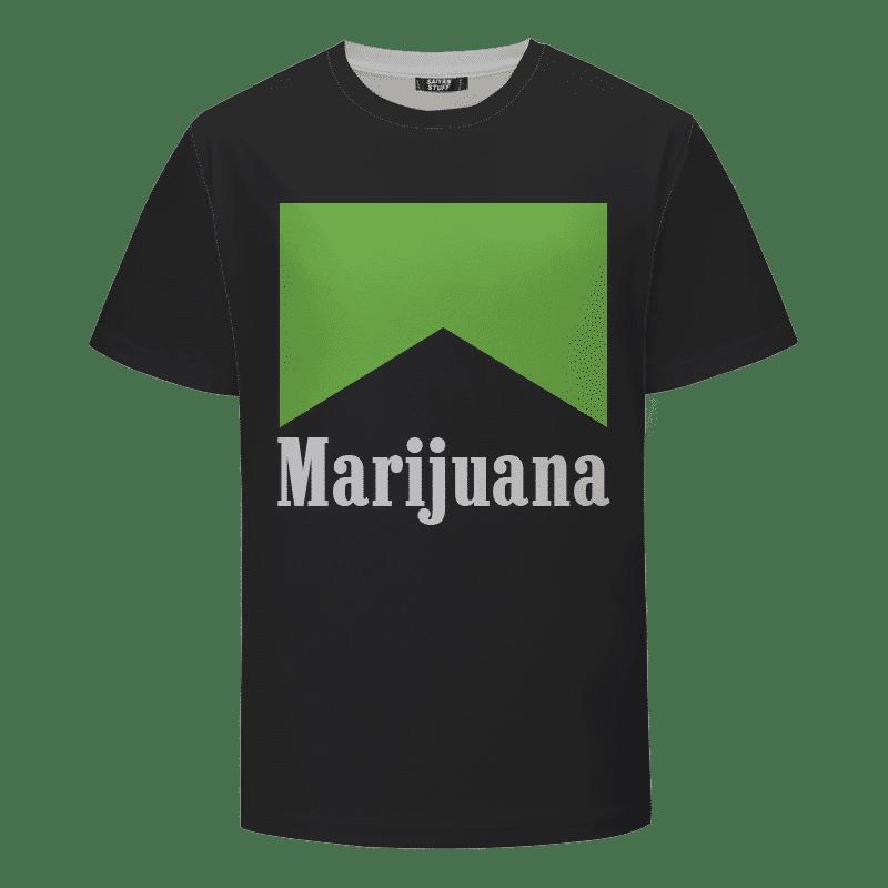 Marlboro Logo Awesome Green Marijuana Spoof Black T-shirt