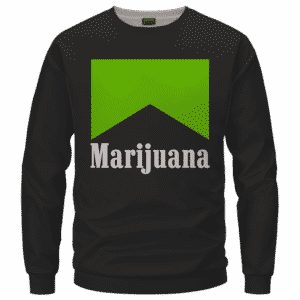 Marlboro Logo Awesome Green Marijuana Spoof Crewneck Sweatshirt