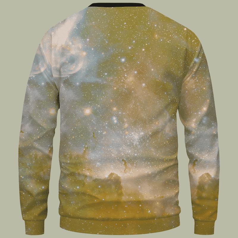 Pineapple Marijuana King Galaxy Dope Crewneck Sweater - Back Mockup