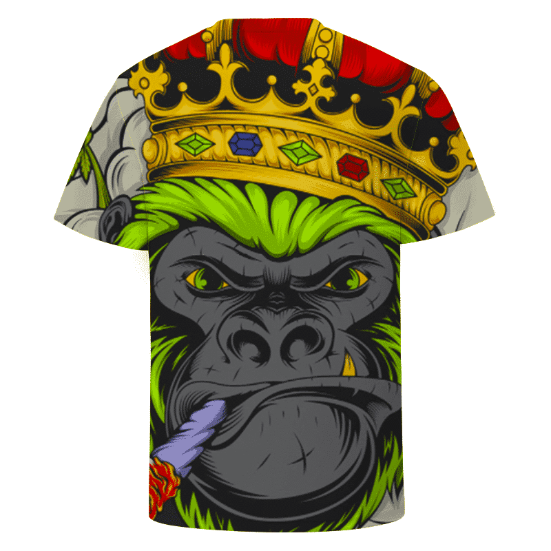 Smoking Joint Gorilla With Crown Vector Art Awesome T-shirt