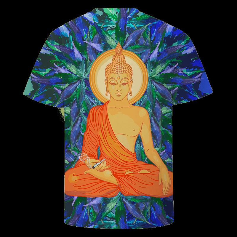 Smoking Pot Meditating Buddha Dope Marijuana Leaves Blue Green T-shirt