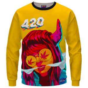 Stoned Girl Smoking Kush Color Splash 420 Marijuana Crewneck Sweatshirt