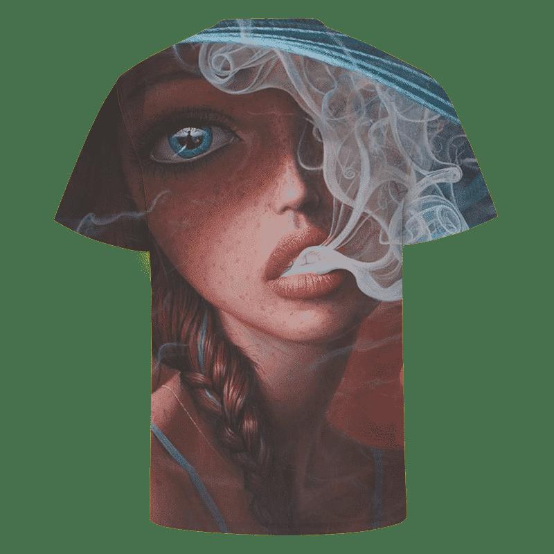Stoner Smoking Cute Girl Awesome Art Full Print T-shirt
