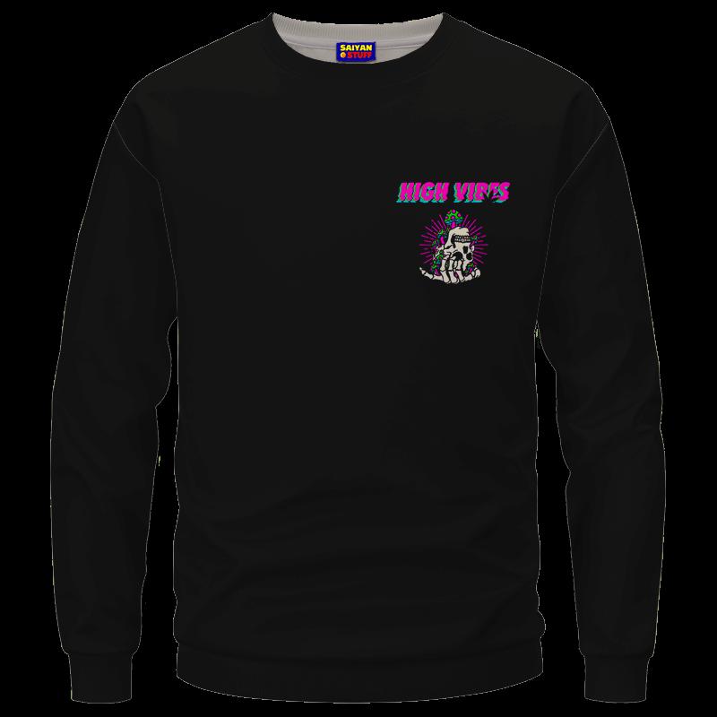 Trippy Skull Art High Vibes 420 Marijuana Crewneck Sweatshirt