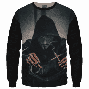 V for Vendetta Mask Cross Joint 420 Marijuana Sweatshirt