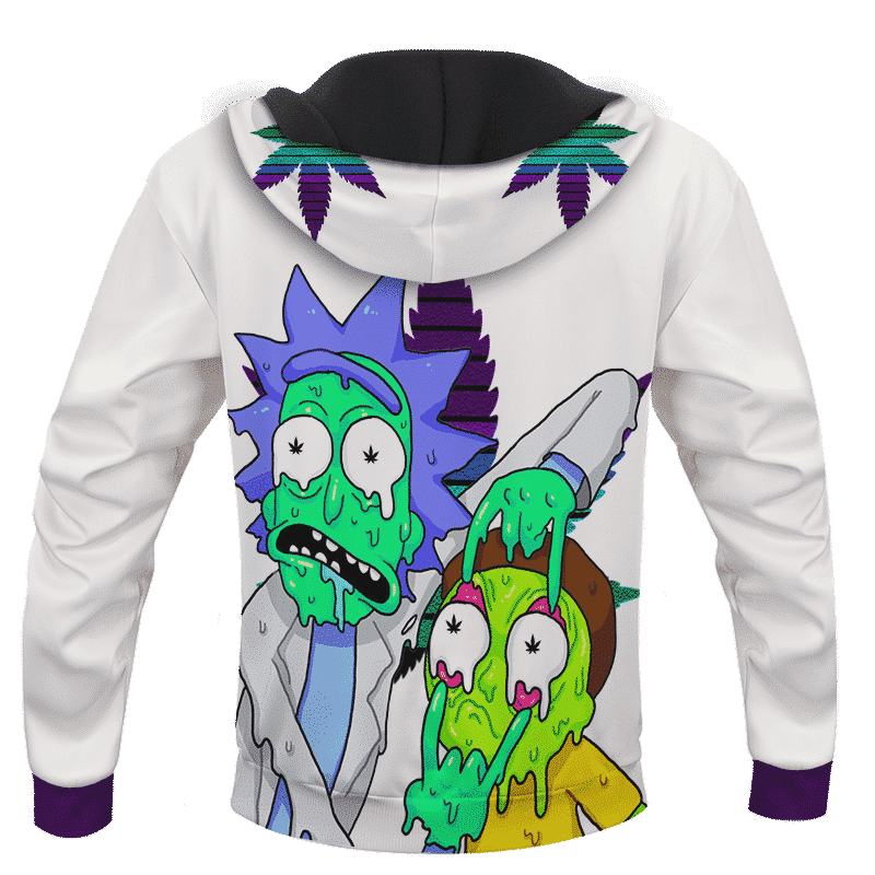 Weed Adventures of Rick and Morty Melting Trippy 420 Marijuana Hoodie