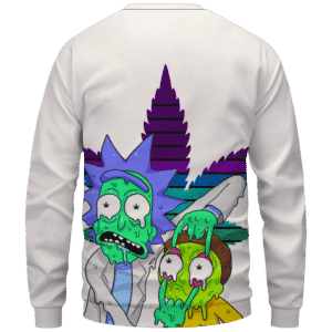 Weed Adventures of Rick and Morty Melting Trippy 420 Sweatshirt Back