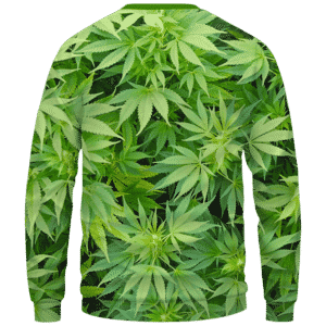 Weed Marijuana Plant Leaves Cool Crewneck Sweater - Back Mockup