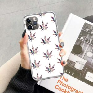 White Weed Leaf Pattern iPhone 12 (Mini, Pro & Pro Max) Case