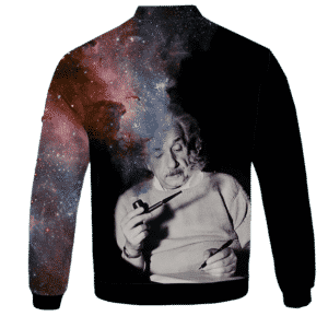 Albert Einstein Smoking Dope Galaxy 420 Marijuana Bomber Jacket Back