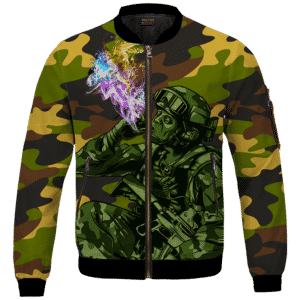 Chilling Out Soldier Smoking Marijuana Cool Bomber Jacket