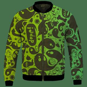 Dope Weed Cartoon Doodle Art 420 Marijuna Bomber Jacket