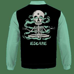 Escape Dope Art Skull Smoking 420 Marijuana Bomber Jacket Back
