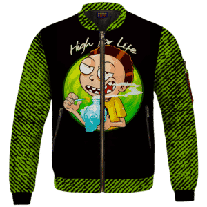 High for Life Adventures of Morty 420 Marijuana Bomber Jacket