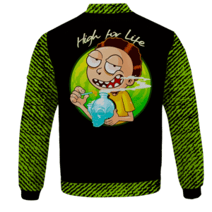 High for Life Adventures of Morty 420 Marijuana Bomber Jacket - back