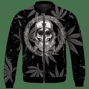 Hippie Skull Awesome Marijuana Leaves Pattern Dope Black Bomber Jacket