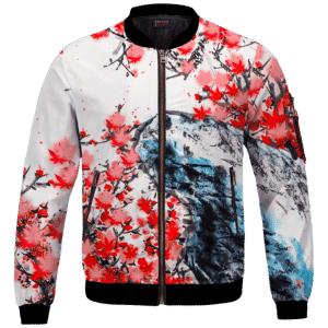 Japanese Art Painting Cherry Marijuana Blossoms 420 Bomber Jacket