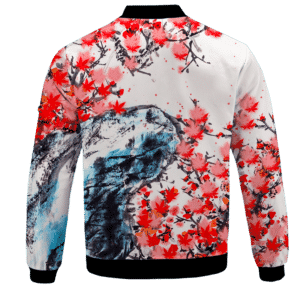 Japanese Art Painting Cherry Marijuana Blossoms 420 Bomber Jacket Back