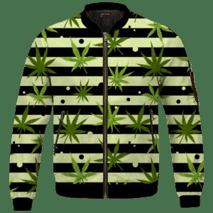 Marijuana Weed 420 Stripes All Over Bomber Jacket