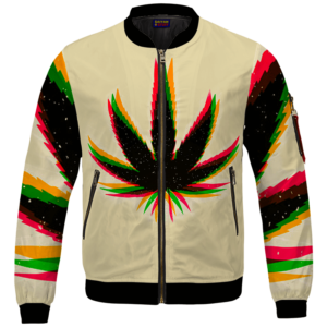 Marijuana Weed Trippy Colors Cool Awesome Bomber Jacket