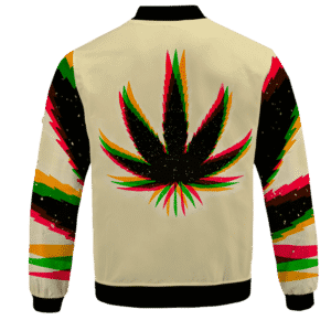 Marijuana Weed Trippy Colors Cool Awesome Bomber Jacket - back