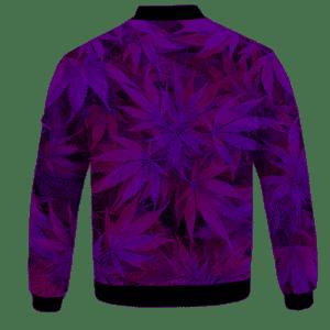 Purple Haze Trippy Marijuana Hemp 420 Bomber Jacket - BACK