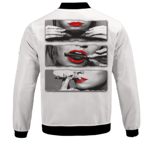 Red Lips Rolling Smoking a Marijuana Joint 420 Bomber Jacket - BACK