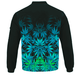 Vibrant Green Fading Marijuana Hemp 420 Kush Bomber Jacket Back