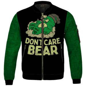 We Don't Care Bear Parody High on Marijuana 420 Bomber Jacket