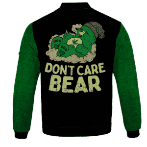 We Don't Care Bear Parody High on Marijuana 420 Bomber Jacket - back