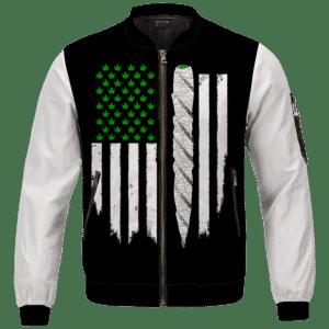 Weed US Flag Joint 420 Marijuana Dope Bomber Jacket