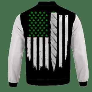 Weed US Flag Joint 420 Marijuana Dope Bomber Jacket - back