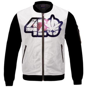 _White 420 Galaxy Logo Cannabis Themed Colorful Bomber Jacket
