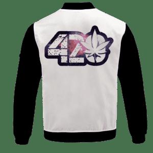 _White 420 Galaxy Logo Cannabis Themed Colorful Bomber Jacket - BACK