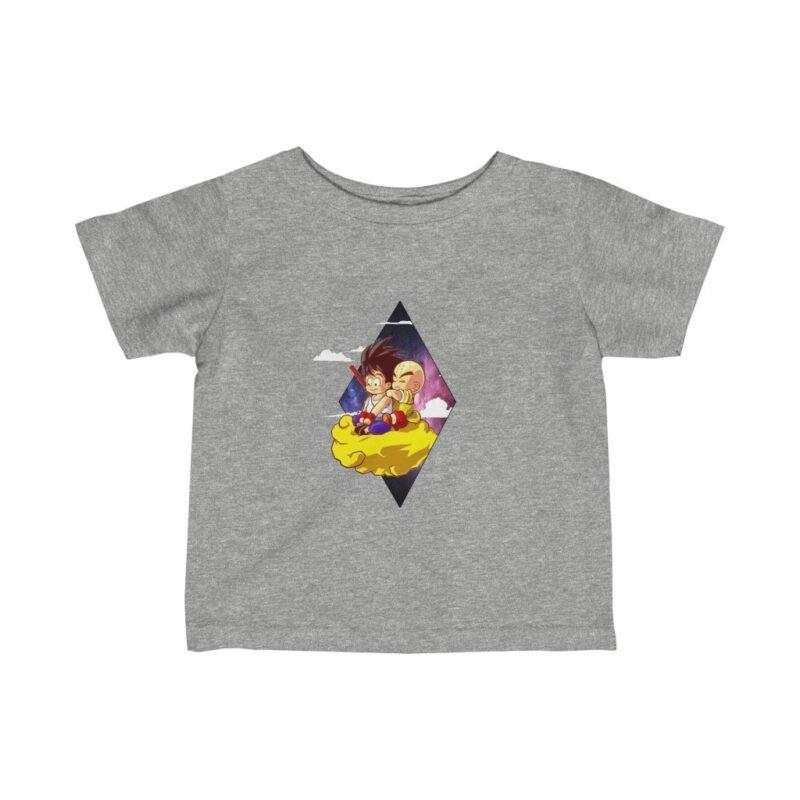 DBZ Cute Kid Goku And Krilin Flying Nimbus Baby T-shirt