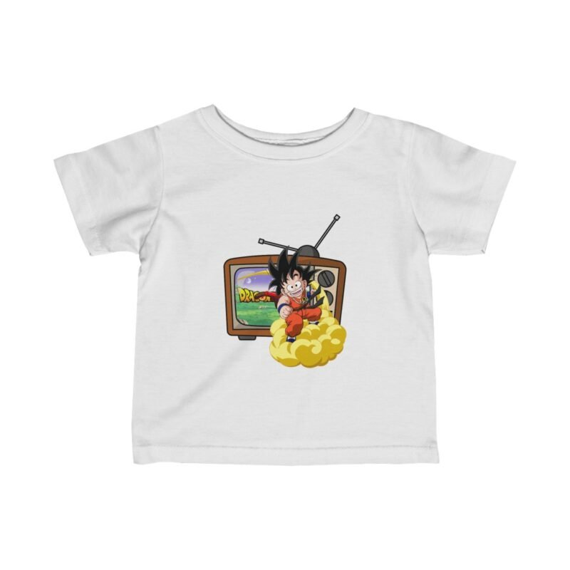 Dragon Ball Z Cute Kid Goku Flying Out Of TV Captivating Infant T-shirt