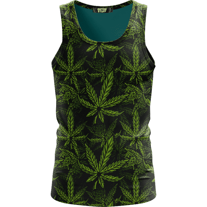 420 Weed Hemp Marijuana Pattern Awesome Dark Green Dope Tank Top