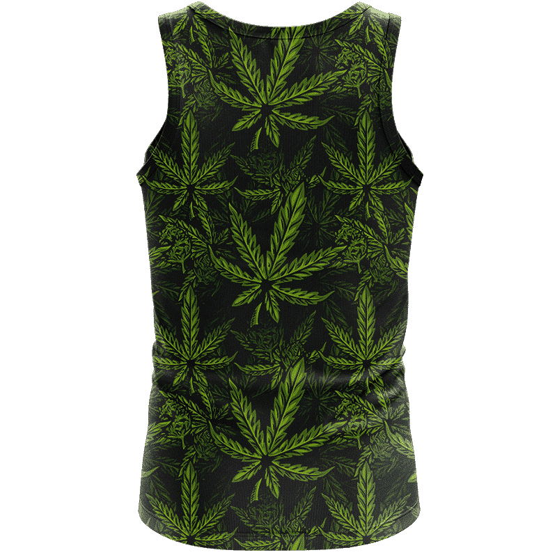 420 Weed Hemp Marijuana Pattern Awesome Dark Green Dope Tank Top - back