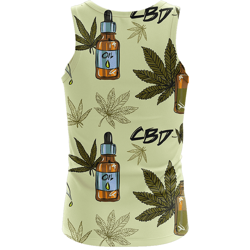 420 Weed Marijuana Dope CBD Minimalist Art Wonderful Tank Top - Back