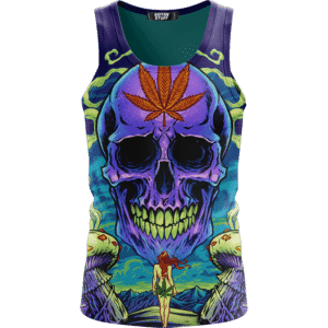 Amazing Skull Vector Art Trippy Weed Green Violet Dope Tank Top