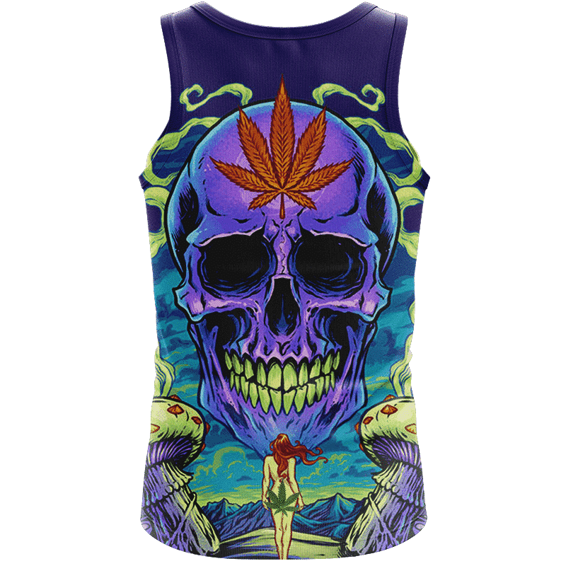 Amazing Skull Vector Art Trippy Weed Green Violet Dope Tank Top - Back