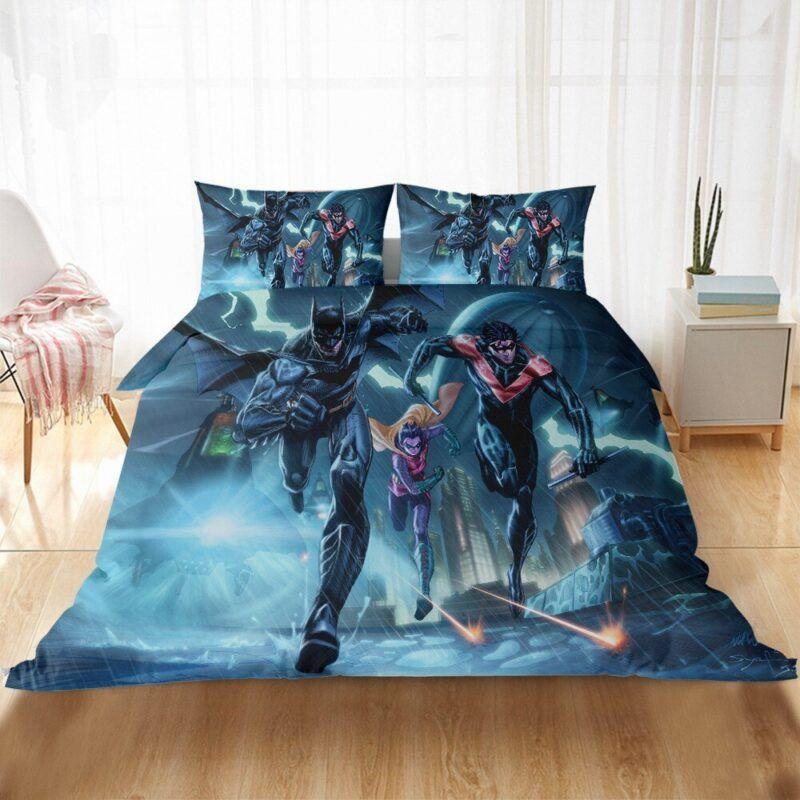 Animated Batman Robin And Nightwing Rainy Escape Bedding Set