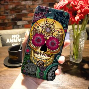 Artistic Gold Yellow Calavera Skull Design iPhone 12 Case