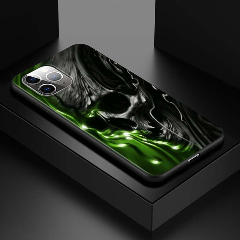 Badass Dark Skull With Green Chemical Liquid iPhone 12 Case