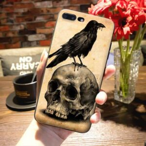 Badass Gothic Skull & Black Crow Classic iPhone 12 Case