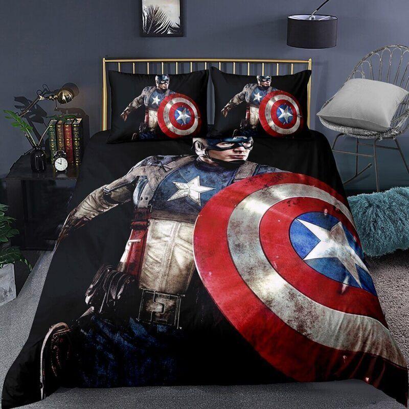 Bruised Captain America Vibranium Shield Black Bedding Set