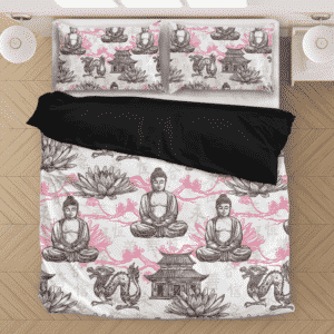 Buddha White Lotus Zen Spiritual Pattern White Bedding Set