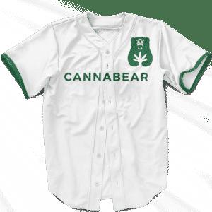 Cannabear Cannabis 420 White Green Minimalist Baseball Jersey