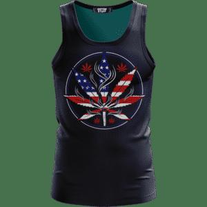 Cannabis Leaf Marijuana 420 American Flag Dope Navy Blue Tank Top
