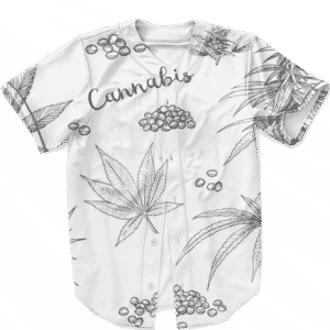 Cannabis Weed 420 Ganja Breezy Print White Baseball Jersey